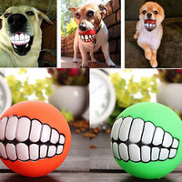 Bite Fetch Ball Pet Dog Puppy Cat Durable Treat Smile Teeth ball Funny Toys