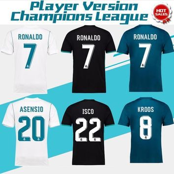 2018 Champions League Player Version Soccer Jersey 2017/18 Real Madrid Home Away 3rd S