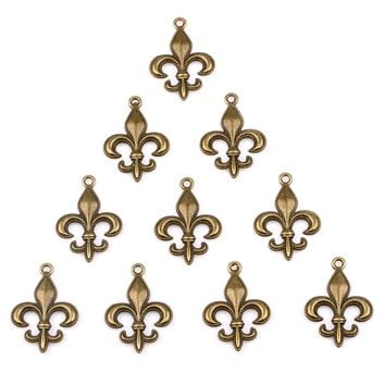 20 Pieces Fleur De Lis Lucky Magic Charms Finding for Jewelry Pendants Necklace Making 28mm X 20mm