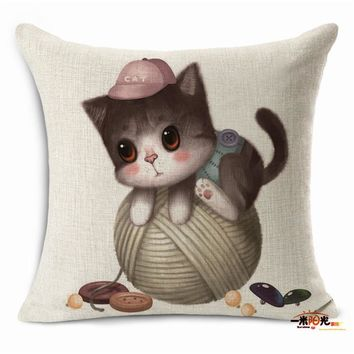 Home decorative pillows Cartoon style cute cat square 45x45cm cotton linen seat back cushion without filling housse coussin