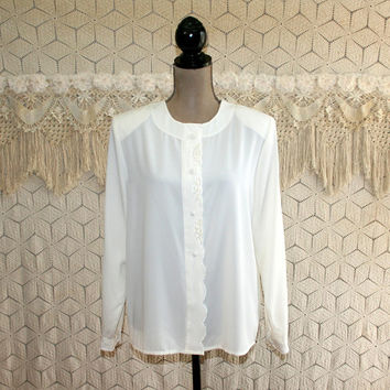 80s White Blouse Cream Long Sleeve Button Up Dressy Top Large Romantic Blouse Collarless Seed Pearls 1980s Vintage Clothing Womens Clothing