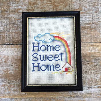 Embroidery Wall Art Home Sweet Home Cross Stitch Framed Embroidery Wall Hanging Framed Crewel Picture Needlepoint Wall Hanging Cottage Chic