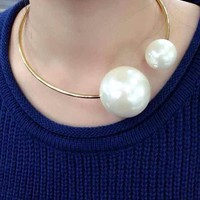 Double Pearl Statement Collar Necklace