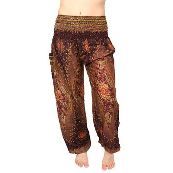 Brandy Brown Peacock Harem Pants