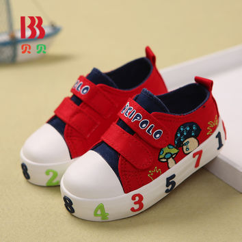 2017 Baby Boy Girls Toddler Sneakers Kids Casual Canvas Lace Mushroom Soft Cartoon Shoes Spring Size 20-25 6126