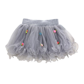 Baby Girls Rose Lace Princess Tulle Skirt Wedding Tutu Skirts 1-4Y Lovely SM6