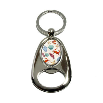 Sea Life - Ocean Creatures Seahorse Seashell Conch Starfish Crab Beach Spinning Oval Bottle Opener Keychain