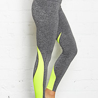 FOREVER 21 Mesh Paneled Sport Leggings Charcoal/Lime X-Small