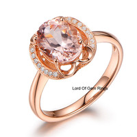 Oval Morganite Engagement Ring VS Diamond 14K Rose Gold 7x9mm  Floral