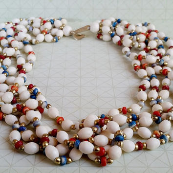 Multi strand beads vintage necklace - bohemian beaded - lucite necklace - colorful necklace - tribal bead necklace - india vintage necklace