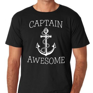 Captain Awesome Anchor Pattern Printed T-Shirt - Men's Crew Neck Novelty Tee