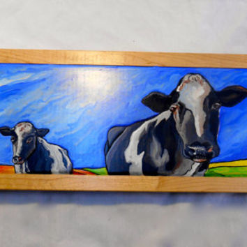 Cow Carving Oil Painting, Framed Barn Scene Oil Painting, Holstein Cow Painting