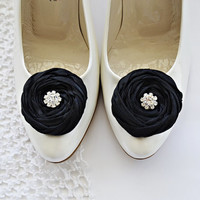 Black Chiffon Roses Shoe Clips