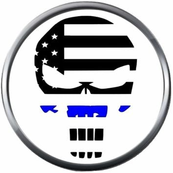 Punisher Skull Thin Blue Line Police Officer Sheriff Support  18MM - 20MM Snap Charm Jewelry New Item