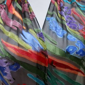 Hand painted silk scarf accessory- black blue red- fashionista gift for her- Handmade in NY Hudson Valley - one of a kind
