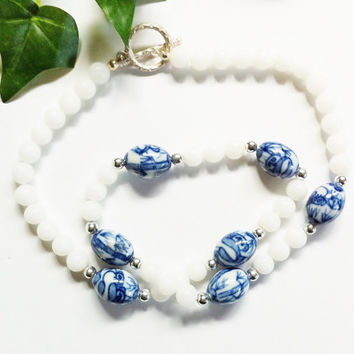 Glass Bead Necklace, Blue and White, Floral Bead, Panda Bear, White Glass with Silver, Delft Holland Look, Hand Strung, Vintage Necklace