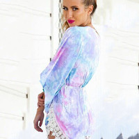 Purple Dye Print V-Neck Bell Sleeve Lace Accent Romper