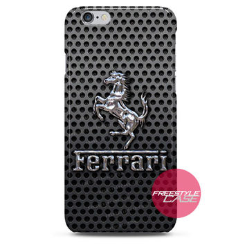 Ferrari Prancing Horse of Maranello Logo On a Black Metal  iPhone Case 3, 4, 5, 6 Cover