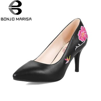 BONJOMARISA Women's Flower Print Thin High Heel Party Wedding Shoes Woman New 2018 Pointed Toe Less Platform Pumps Size 33-40