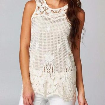 Love Stitch Floral Crochet Tank - Natural