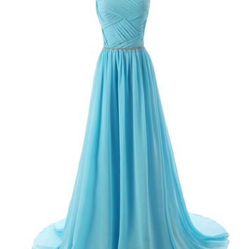 2015 Evening Dresses A Line Sleeveless Floor length Dress star Chiffon Zipper Up  dress Long Bridesmaid Dress Beading Ball Gown-Blue 142214124 SD184