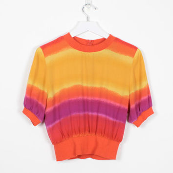 Vintage 80s Blouse Orange Yellow Pink Red Sunset Ombre Rainbow Gradient Striped Crop Top Slouch 1980s Shirt New Wave Cropped Top M Medium L