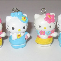 4pc Hello Kitty Charms Lot Hawaii Hawaiian Lei Luau Flower Hula Bow  Wholesale Jewelry Making Supplies Sanrio 19mm