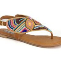 Not Rated Mariachi Multi Color Beaded Sandals MARIACHI-TAN