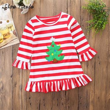 Happy Thanksgiving Toddler Baby Girl Turkey Print Dress Stripe Sundress Outfit long sleeve winter christmas casual daily clothes