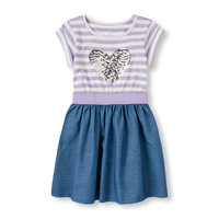 Girls Short Sleeve Glitter Heart Knit-To-Woven Dress | The Children's Place
