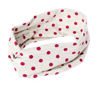 Berry Polka Dot Knotted Twist Headwrap