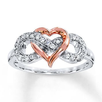Heart Infinity Ring 1/6 ct tw Diamonds Sterling Silver/10K Gold