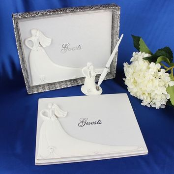 AsyPets Bride and Groom White Wedding Guest Book