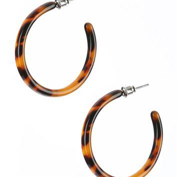 Brown Marble Finish Lucite Stone Hoop Earring