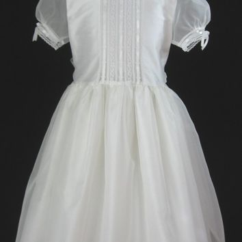 Embroidered Heirlooms Girls First Communion Dress, Flower Girl Dress of Silk - Grace