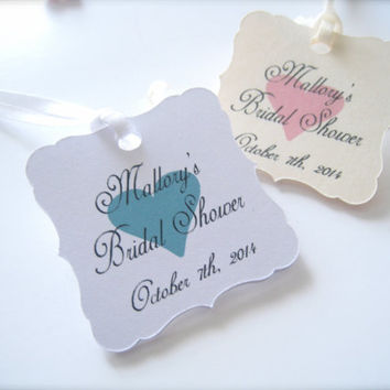 Bridal shower favor tags, mini favor tags, personalized tags, party favor tags, gift tags - 30 count