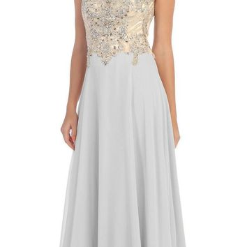 Starbox USA L6098 Silver Illusion Bateau Neck Chiffon Jeweled Bodice Cap Sleeves Prom Dress