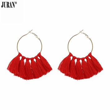 JURAN Multicolored Fashion Fringe Earrings for Women Jewelry Bohemia Tassel Drops Handmade Statement Earrings