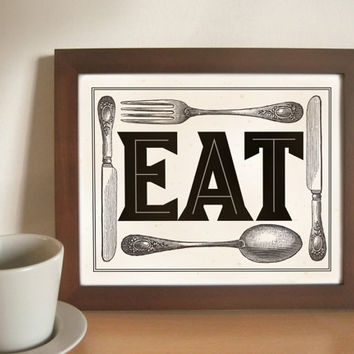 Kitchen Art Print EAT Fork Spoon Knife by DexMex on Etsy