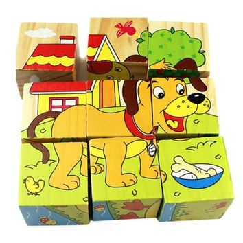 9pcs/lot Kids Wooden Blocks Toys Animal Solitaire Domino Children Educational Toy Cartoon Print Wooden Cubes Toy Brinquedos