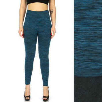 Spacedye 2 tone fleece leggings in  S/M,L/XL and Plus Size in 8 Colors