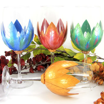 Set of 4 Seasons Wine Glasses, Wedding Gift, Handmade Wine, Engagement,Decorative Glassware, Wedding Gift,Painted Wine Glasses,Wine Etsy