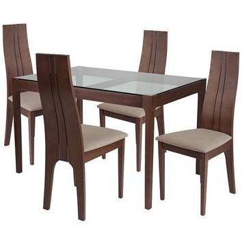 Glendale 5 Piece Walnut Wood Dining Table Set with Glass Top and Padded Wood Dining Chairs