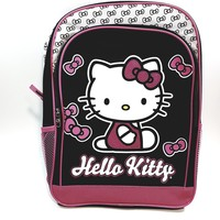 "New Hello Kitty Pink Black & Pink Bow Ties Large 16"" School Bag/Knapsack/Backpack"