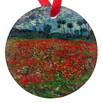 Van Gogh Field of Poppies Porcelain Ornaments