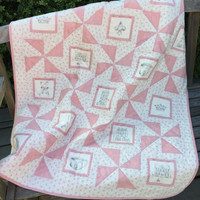Baby Girl Quilt, Pink and White Quilt, Crib Quilt, Nursery Bedding