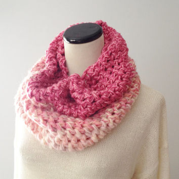 Pink Knit Cowl Scarf - Chunky Cowl - Pink Cowl - Mauve Cowl - Knit Scarf
