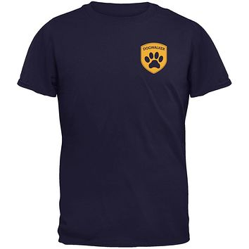 Dog Dogwalker Badge Makes Frequent Stops Navy Youth T-Shirt