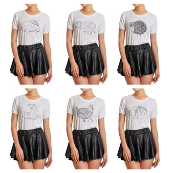 Women Animals Hand Drawing Printed Short Sleeves T- Shirt WTS_07