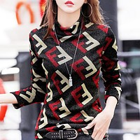 Fendi New fashion more letter print keep warm long sleeve top sweater